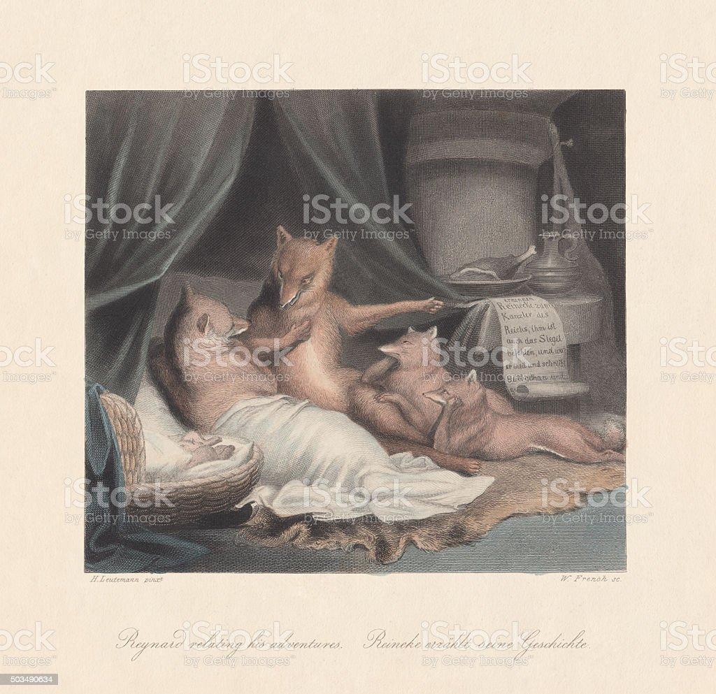Reynard relating his adventures. From 'Reynard the Fox', published c.1855 vector art illustration