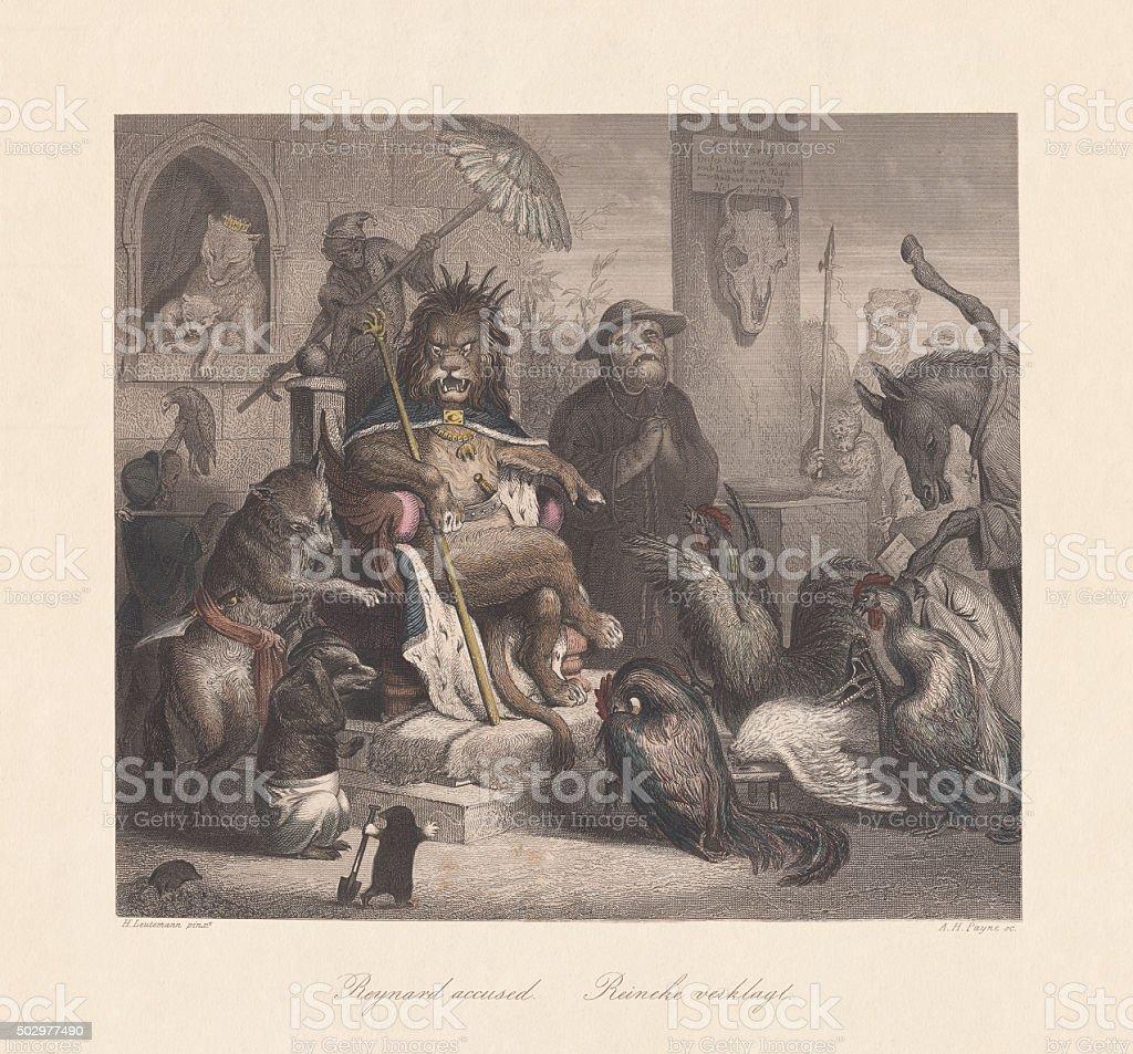 Reynard the Fox accused, steel engraving, published c. 1855 vector art illustration