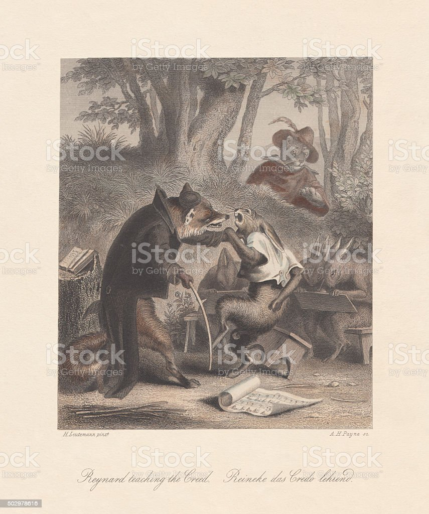 Reynard the Fox teaching the Creed, published c. 1855 vector art illustration