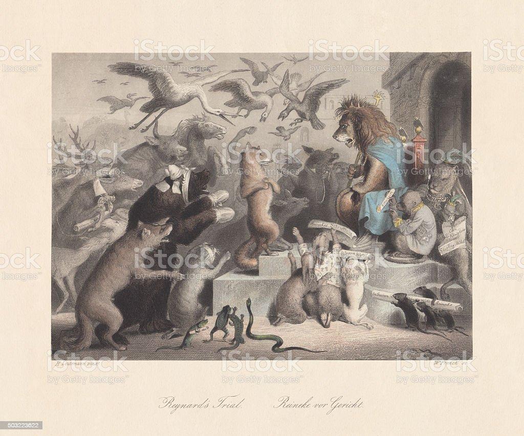Reynard's Trial. Scene from 'Reynard the Fox', published c. 1855 vector art illustration