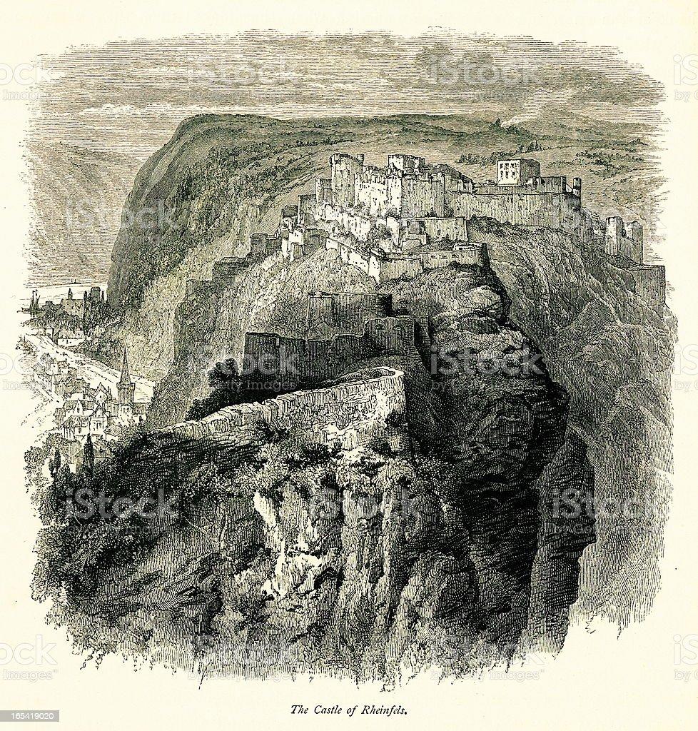 Rheinfels Castle, Germany I Antique European Illustrations royalty-free stock vector art