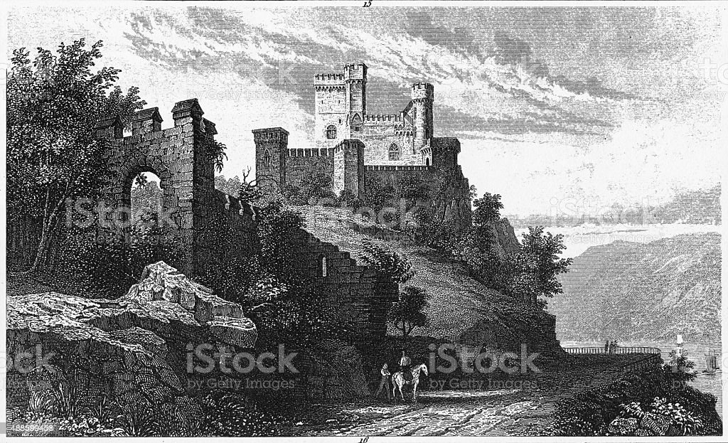 Rheinstein Castle, Germany Engraving stock photo