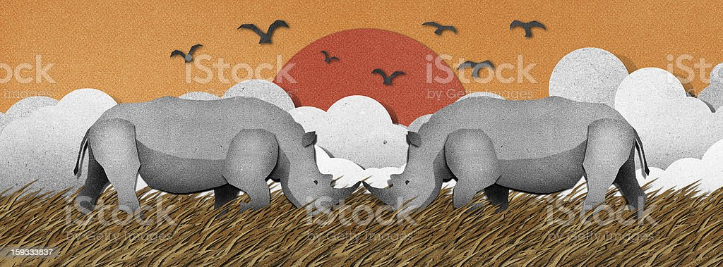 Rhino recycled paper craft background royalty-free stock vector art