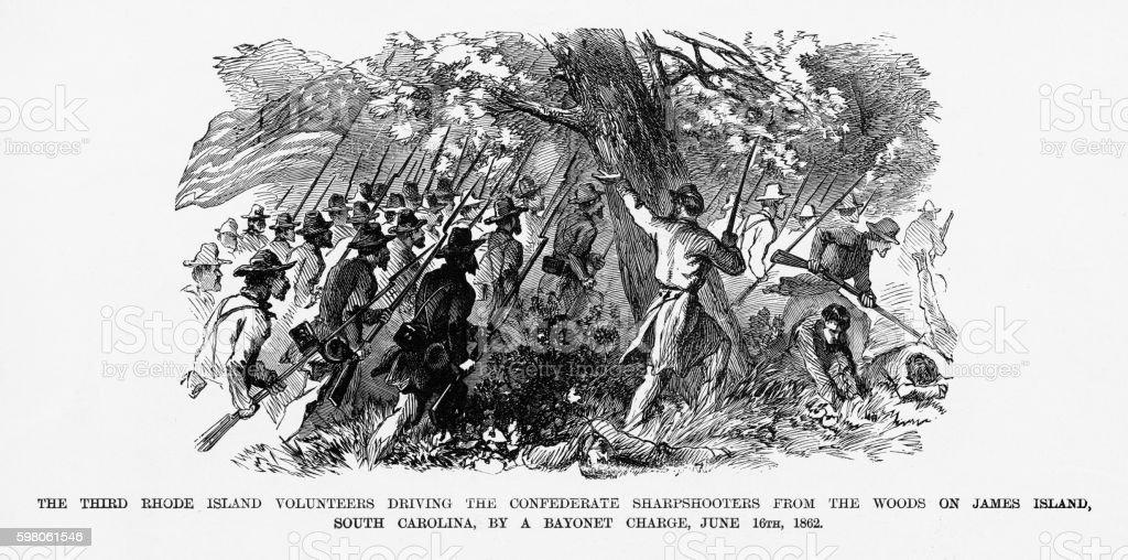 Rhode Island Volunteers on James Island, 1862 Civil War Engraving vector art illustration