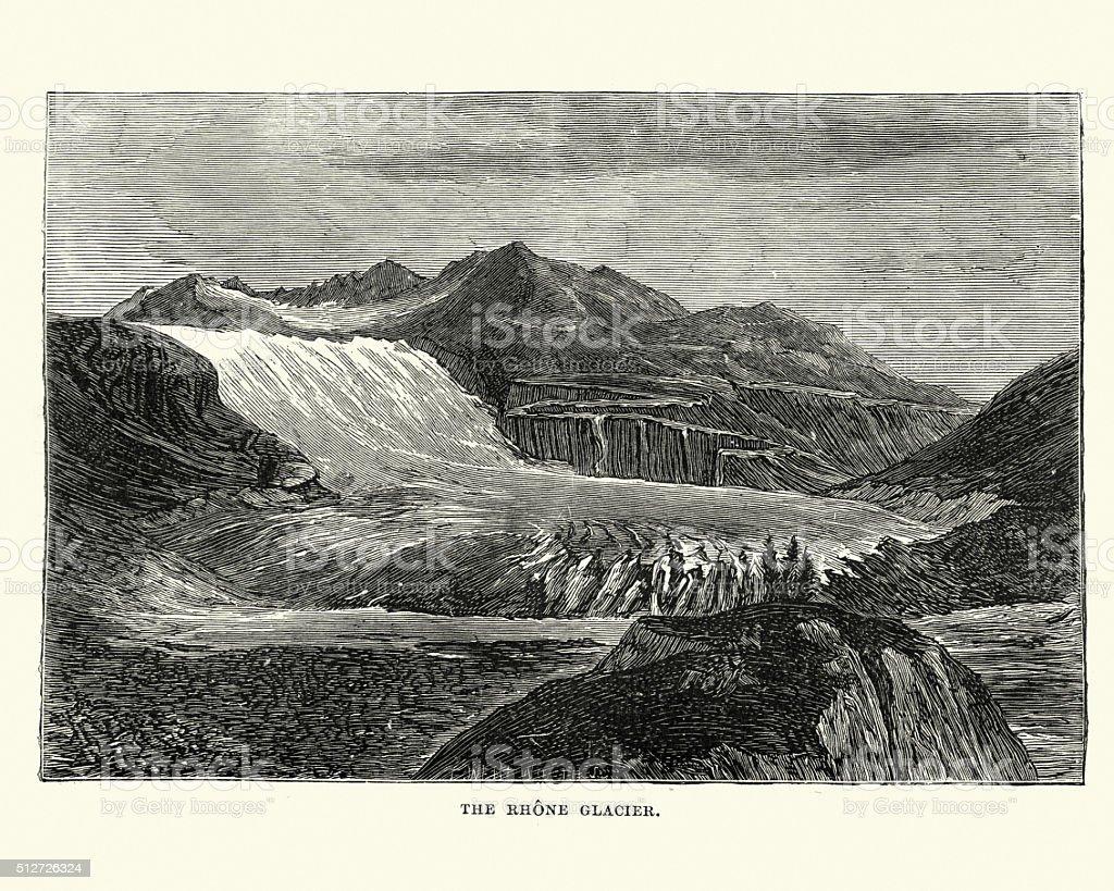 Rhone Glacier in the 19th Century vector art illustration