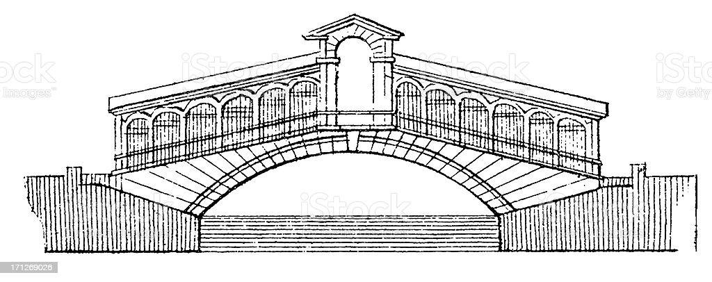 Rialto Bridge, Venice, Italy | Antique Architectural Illustrations vector art illustration