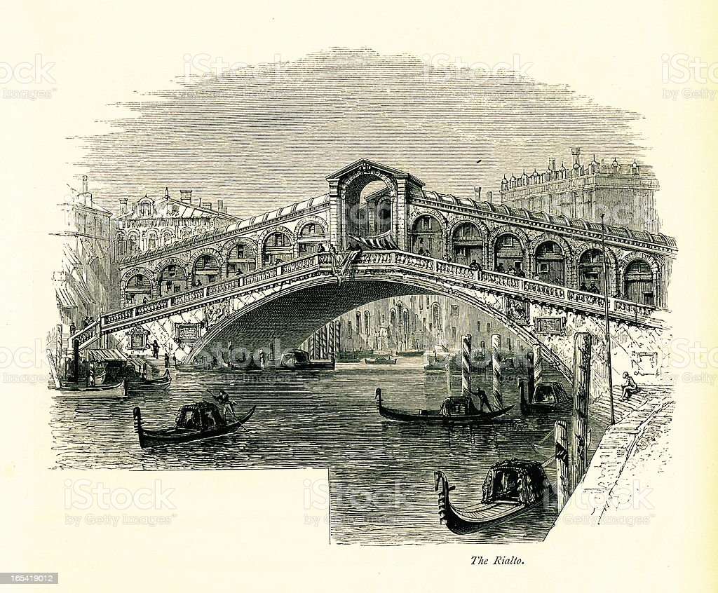 Rialto Bridge, Venice, Italy I Antique European Illustrations vector art illustration