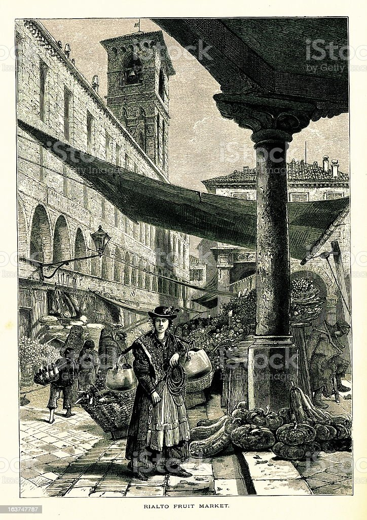 Rialto fruit market, Venice, Italy I Antique European Illustrations royalty-free stock vector art
