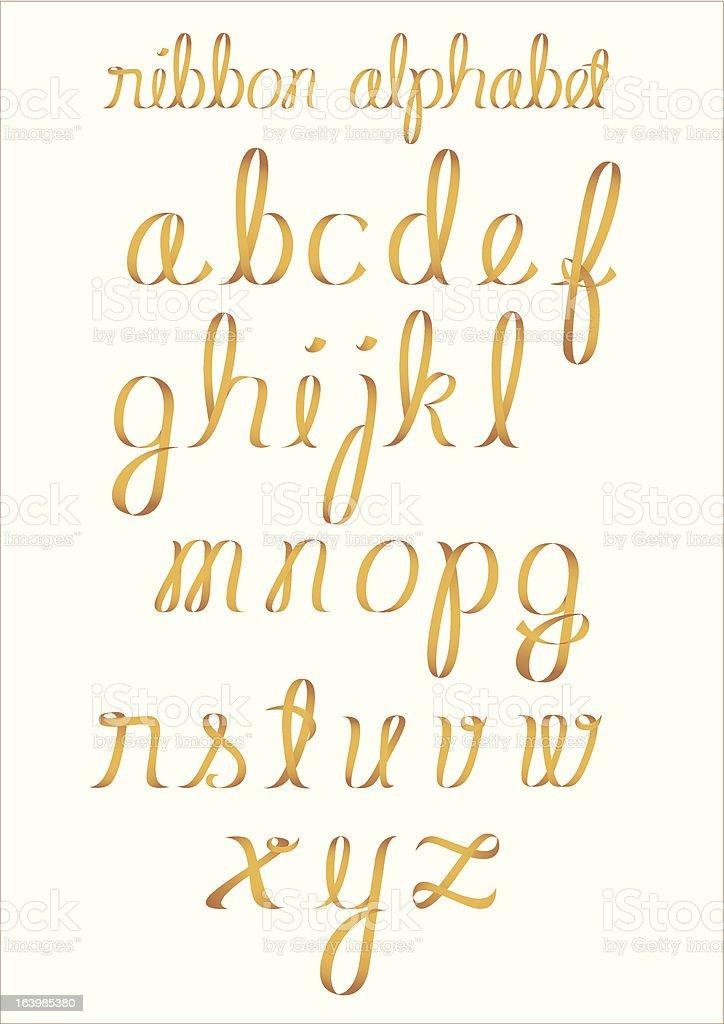 Ribbon alphabet vector art illustration