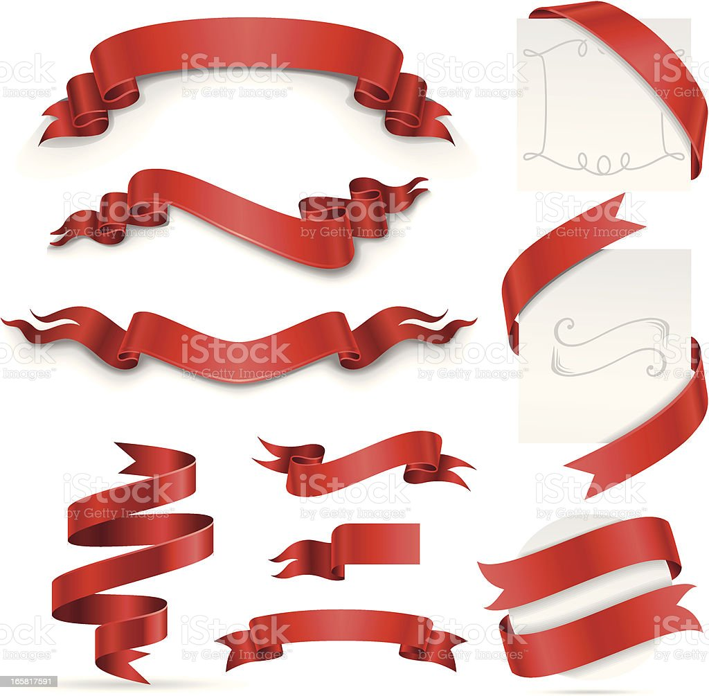 Ribbon Set (Red) vector art illustration
