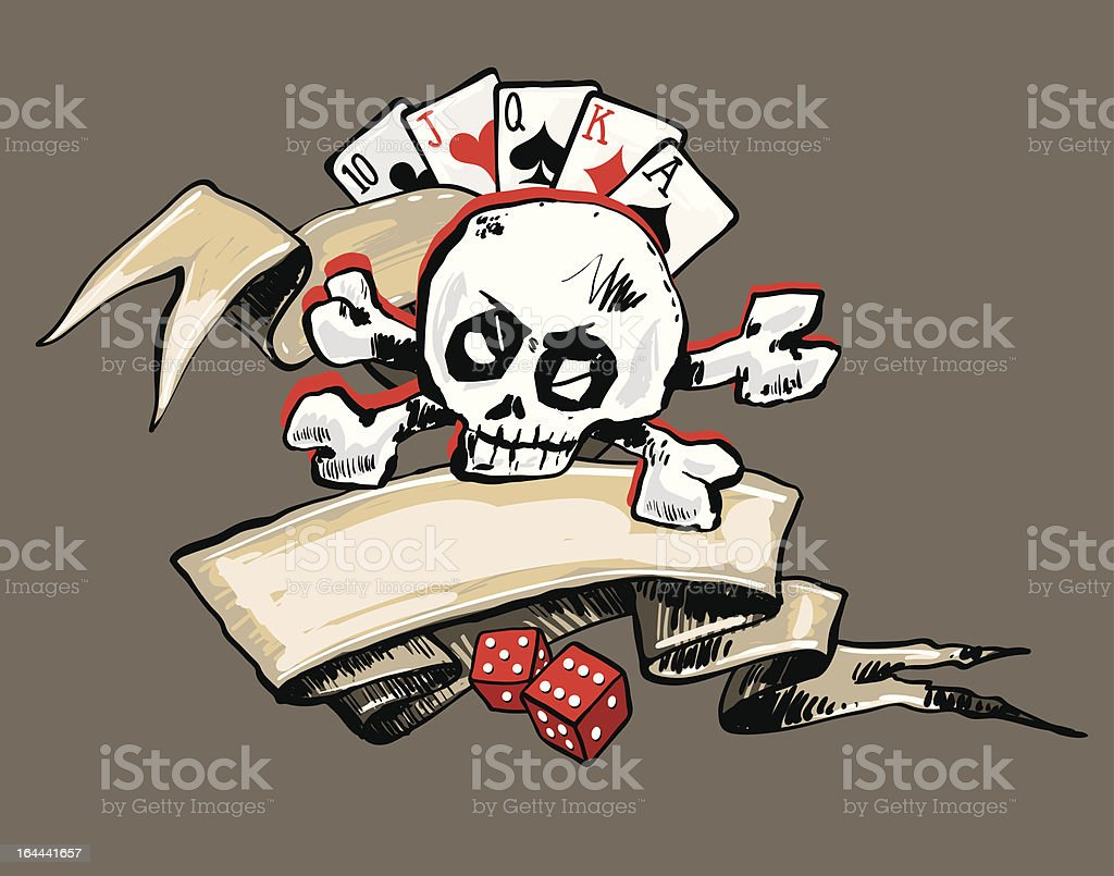 'Ribbon, Skull and Gambling (vector)' vector art illustration
