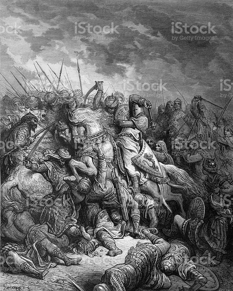 Richard Cœur de Lion and Saladin - Battle of Arsuf vector art illustration