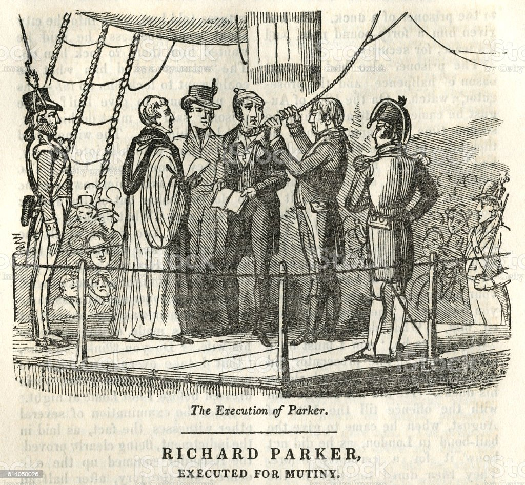 Richard Parker, executed for mutiny vector art illustration