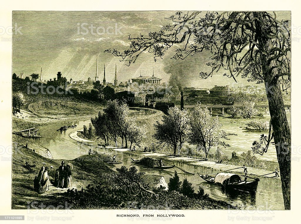 Richmond seen from Hollywood Cemetery, Virginia vector art illustration