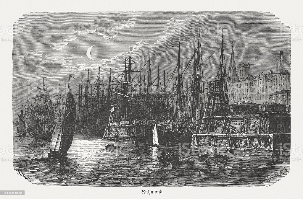Richmond, Virginia, USA, wood engraving, published in 1880 vector art illustration