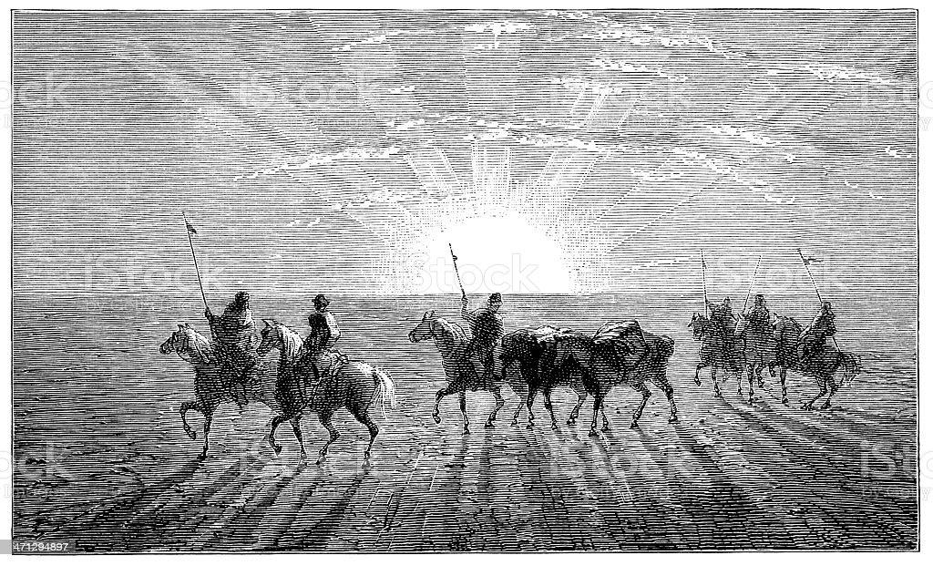 Riders in the Gobi Desert, Asia royalty-free stock vector art