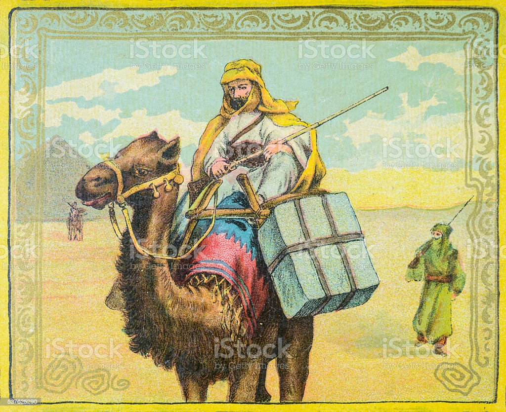 Riding a camel in Egypt vector art illustration
