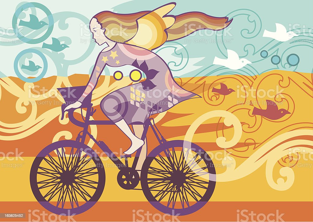 Riding Bicycle On Summer royalty-free stock vector art