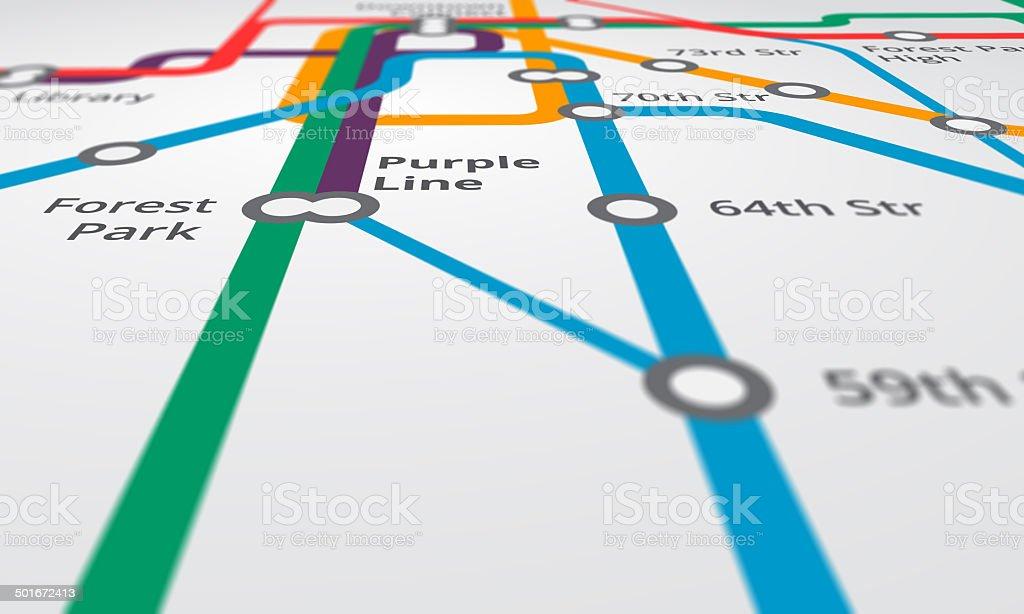 Riding the metro rails vector art illustration