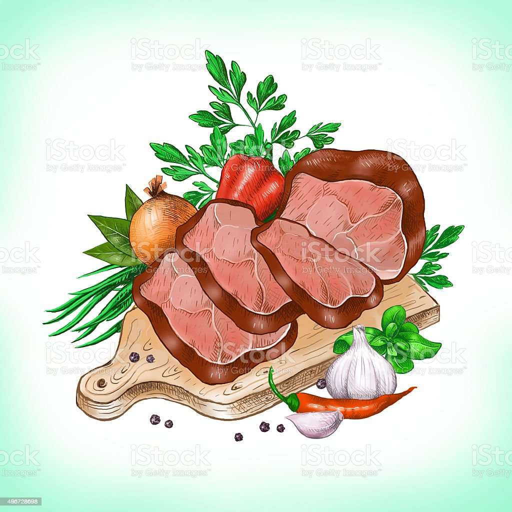 Rifled meat, herbs and vegetables. Digital illustration. vector art illustration