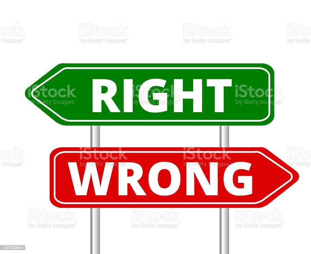 right vs wrong vector art illustration