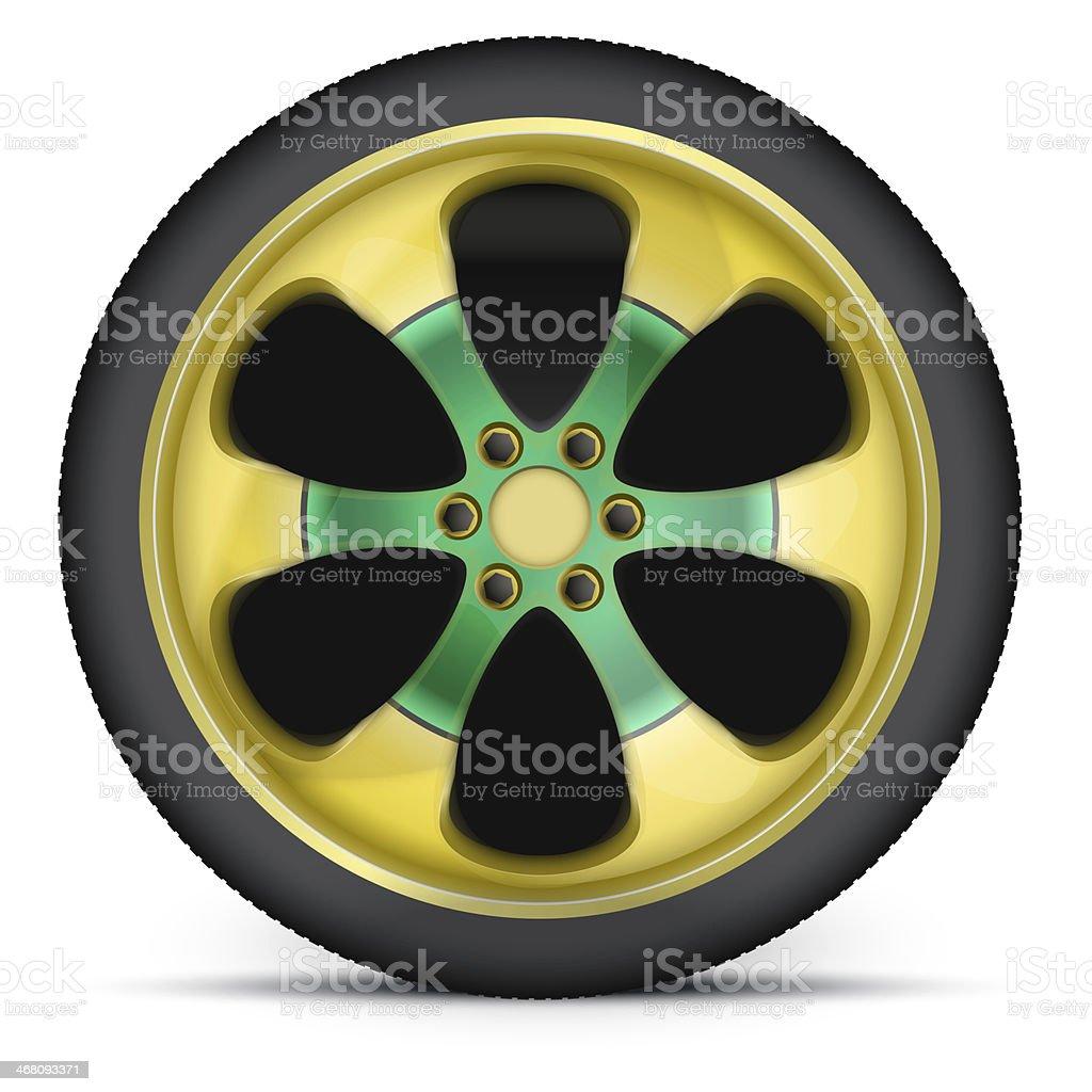 Rim of sports racing car vector art illustration