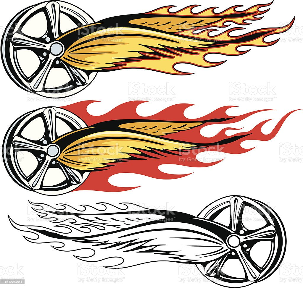 Rim with Wings in Fire. (Vector) royalty-free stock vector art