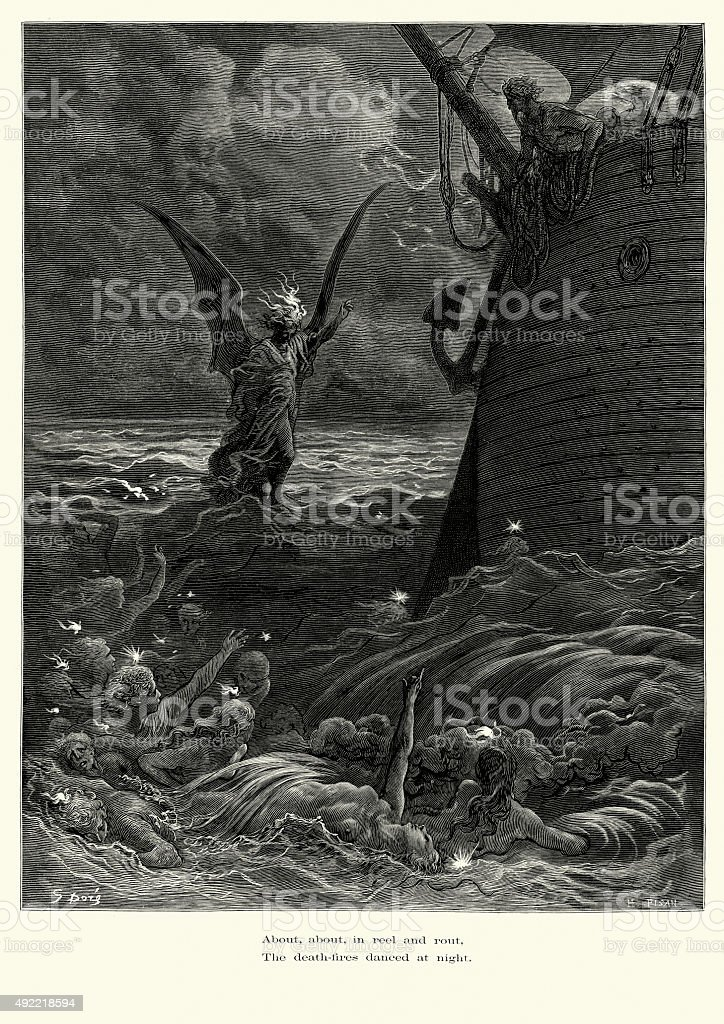 Rime of the Ancient Mariner Death fires danced at night vector art illustration