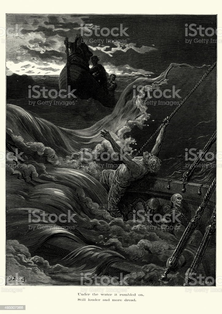Rime of the Ancient Mariner - more dread vector art illustration