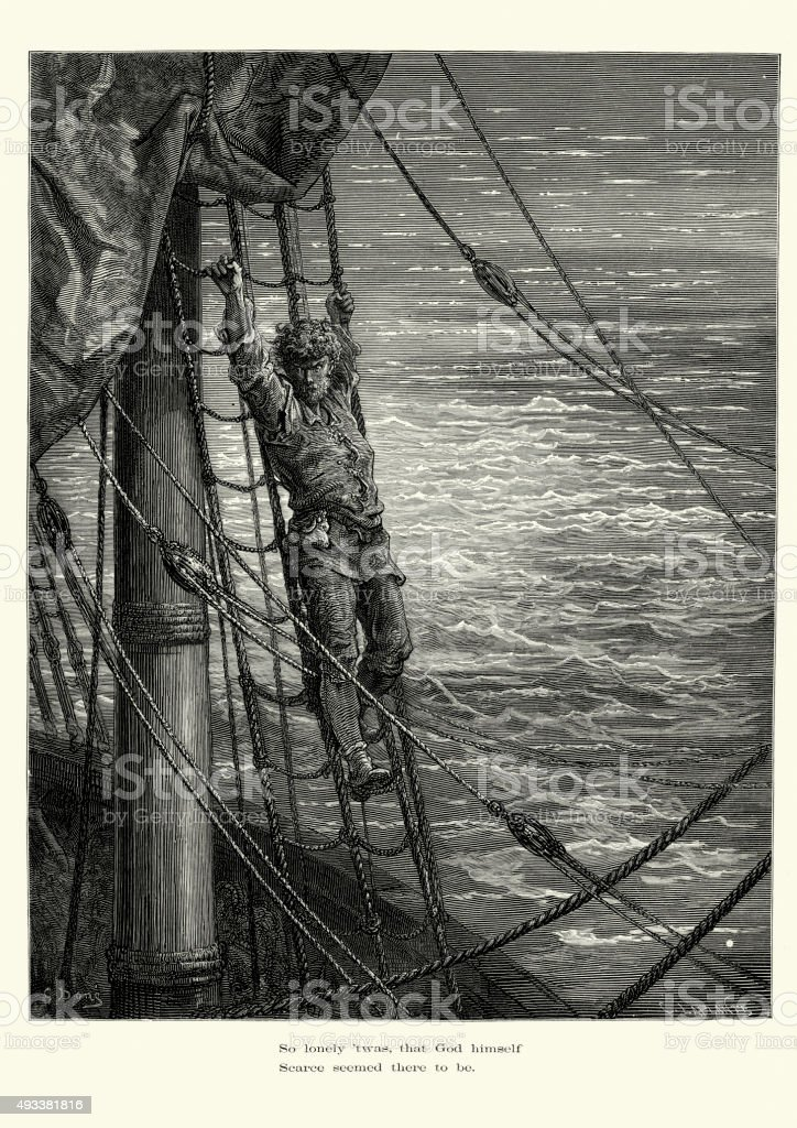 Rime of the Ancient Mariner -  So lonely twas vector art illustration