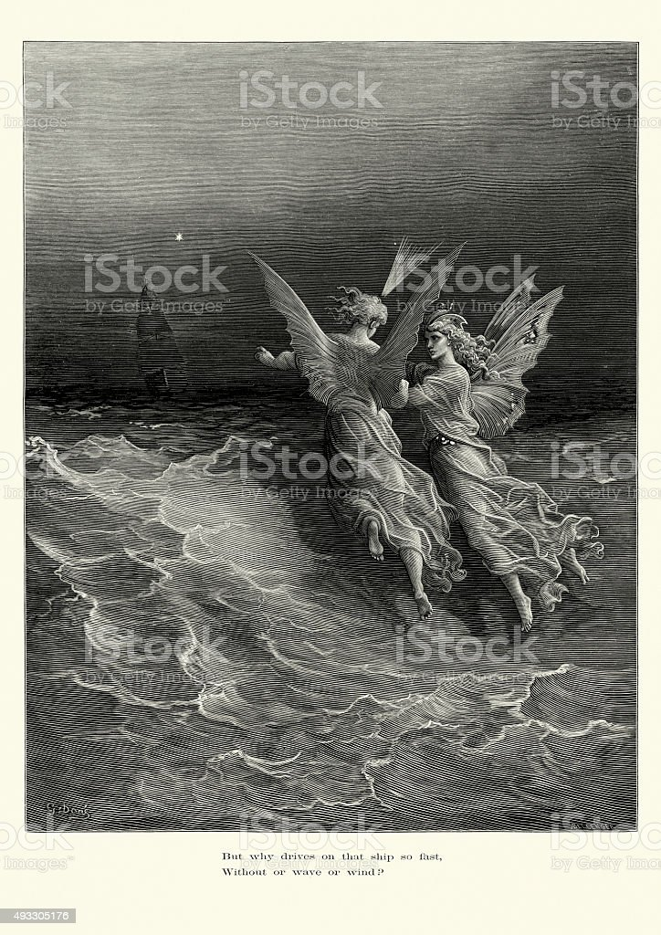Rime of the Ancient Mariner -  that ship so fast vector art illustration