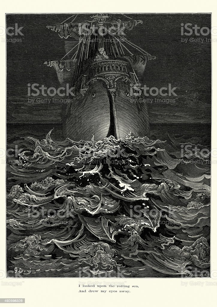 Rime of the Ancient Mariner - upon the rotting sea vector art illustration