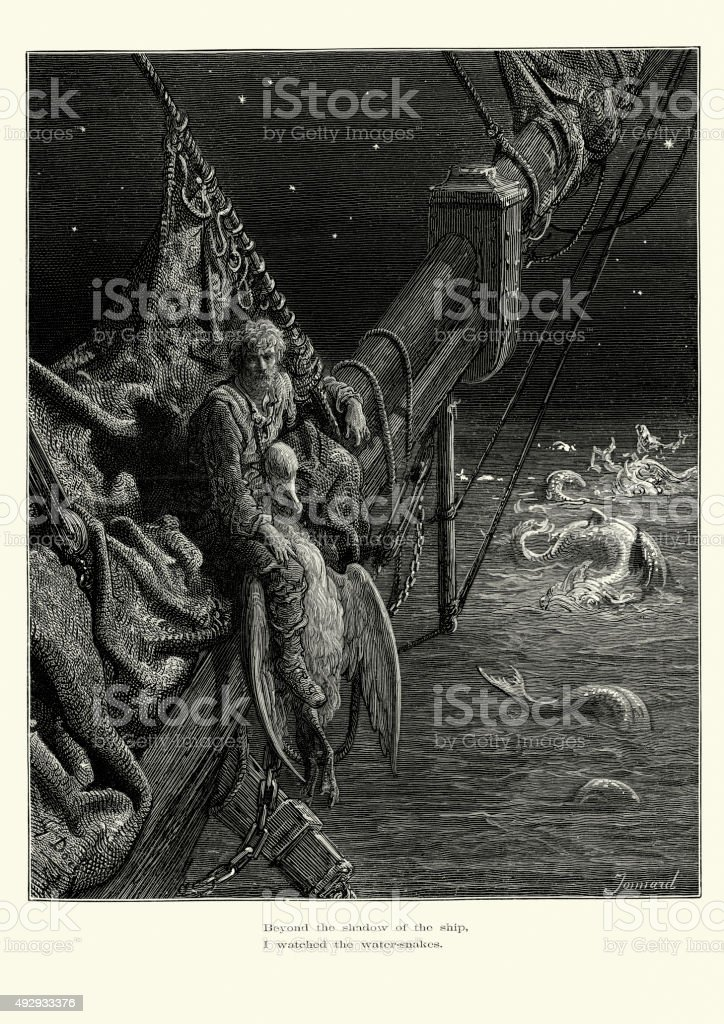 Rime of the Ancient Mariner - Water Snakes vector art illustration