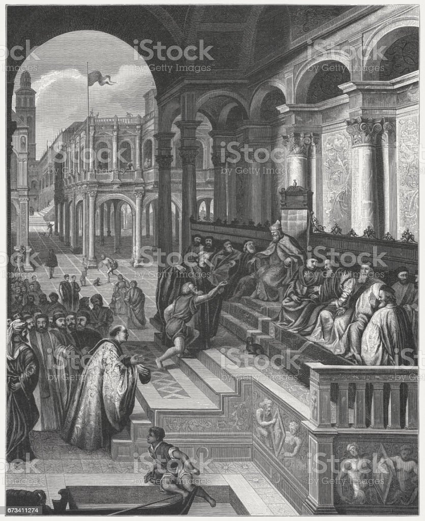 Ring of St. Mark, painted (1534/35) by Paris Bordone, Venice vector art illustration