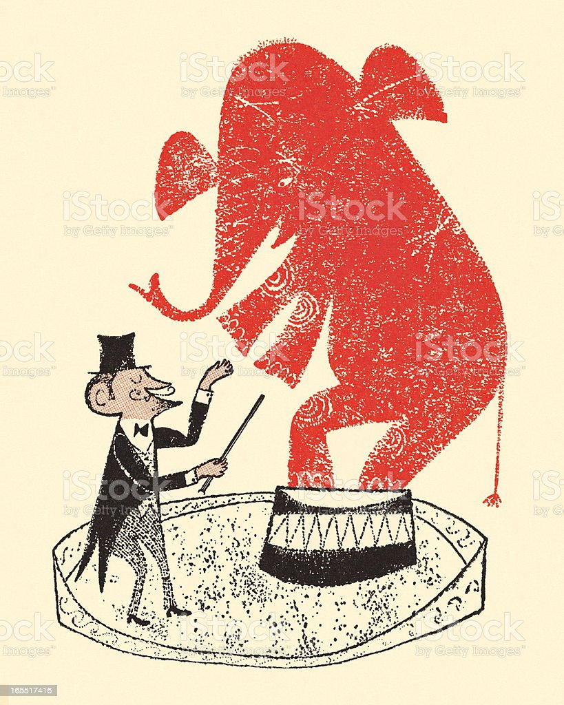 Ringmaster and Circus Elephant royalty-free stock vector art