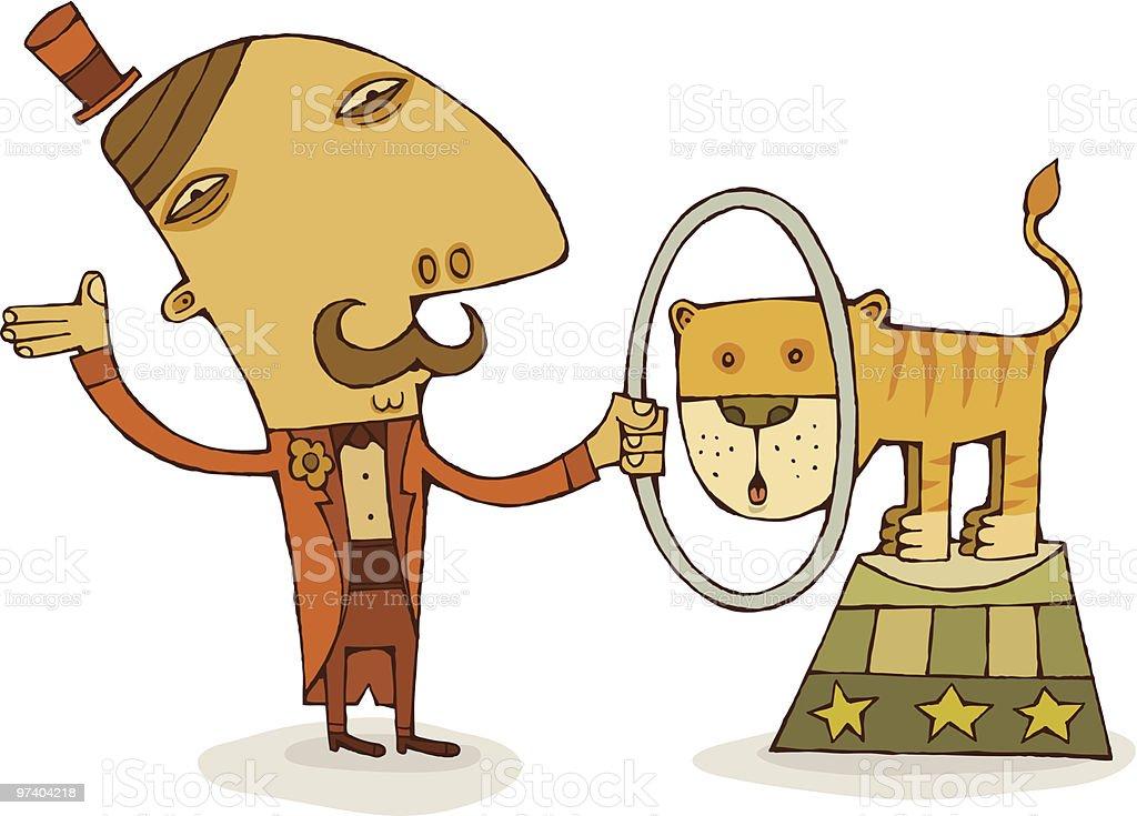 Ringmaster and Tiger vector art illustration