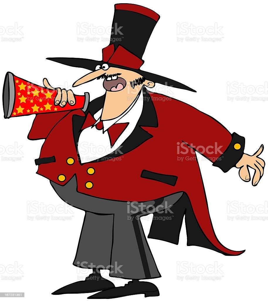 Ringmaster with a megaphone royalty-free stock vector art