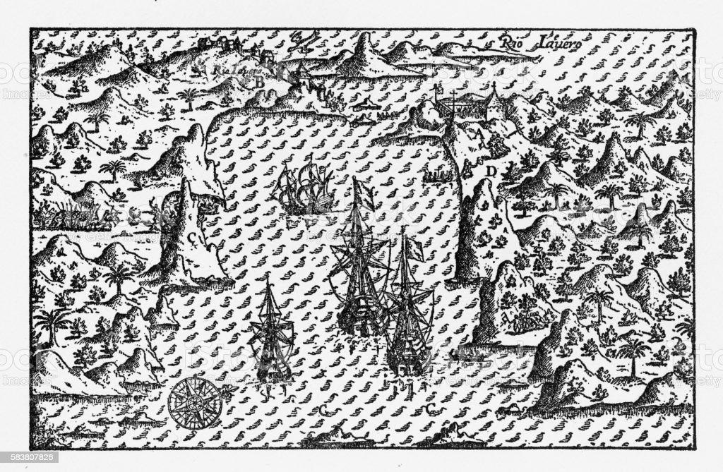 Rio de Janeiro Historical Map by Van Noort, Circa 1598 vector art illustration
