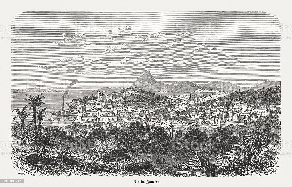 Rio de Janeiro, wood engraving, published in 1882 vector art illustration