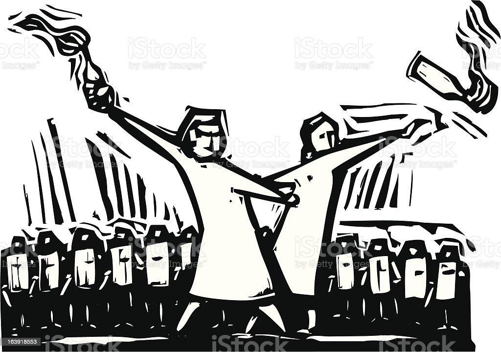 Riot vector art illustration