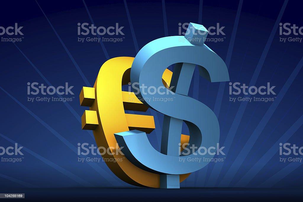 Rising Dollar and Euro vector art illustration