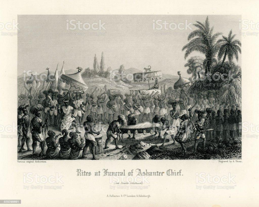 Rites at Funeral of Ashanter Chief vector art illustration