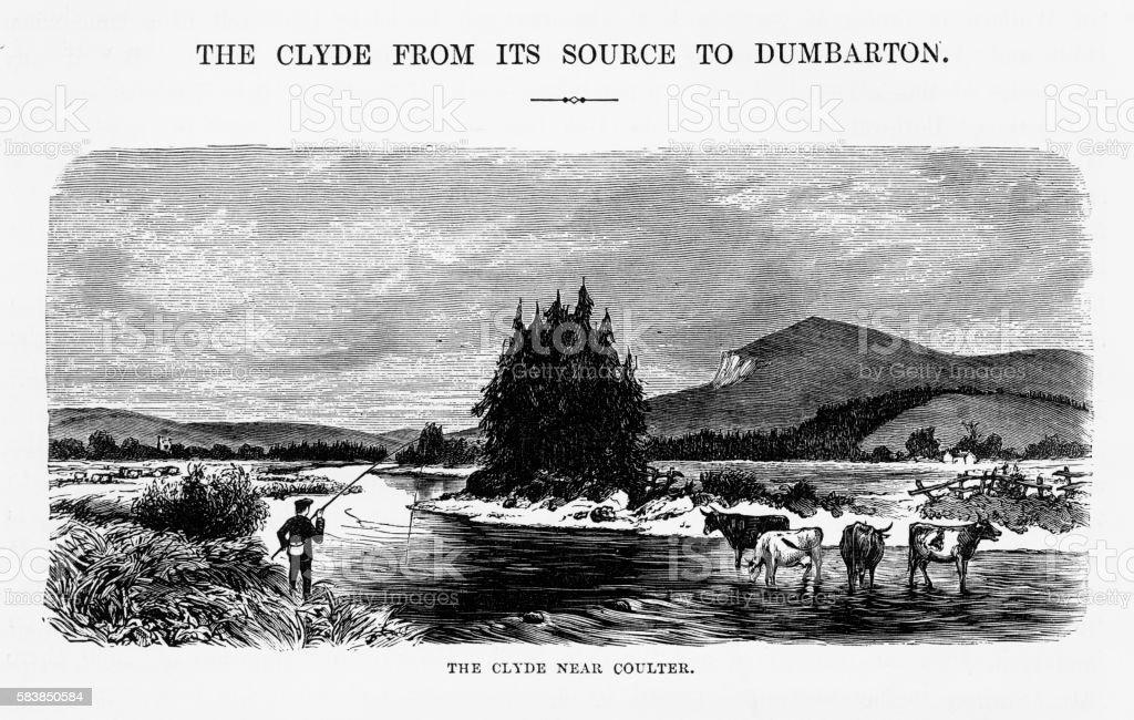 River Clyde Near Coulter, England Victorian Engraving, Circa 1840 vector art illustration