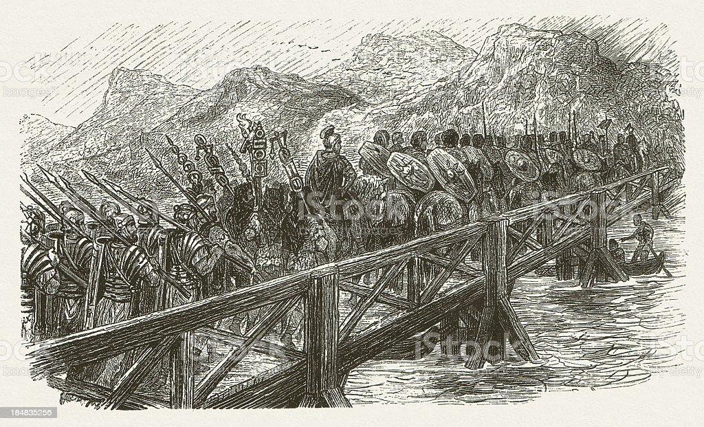 River crossing of Roman legionaries by Julius Caesar, published 1880 vector art illustration