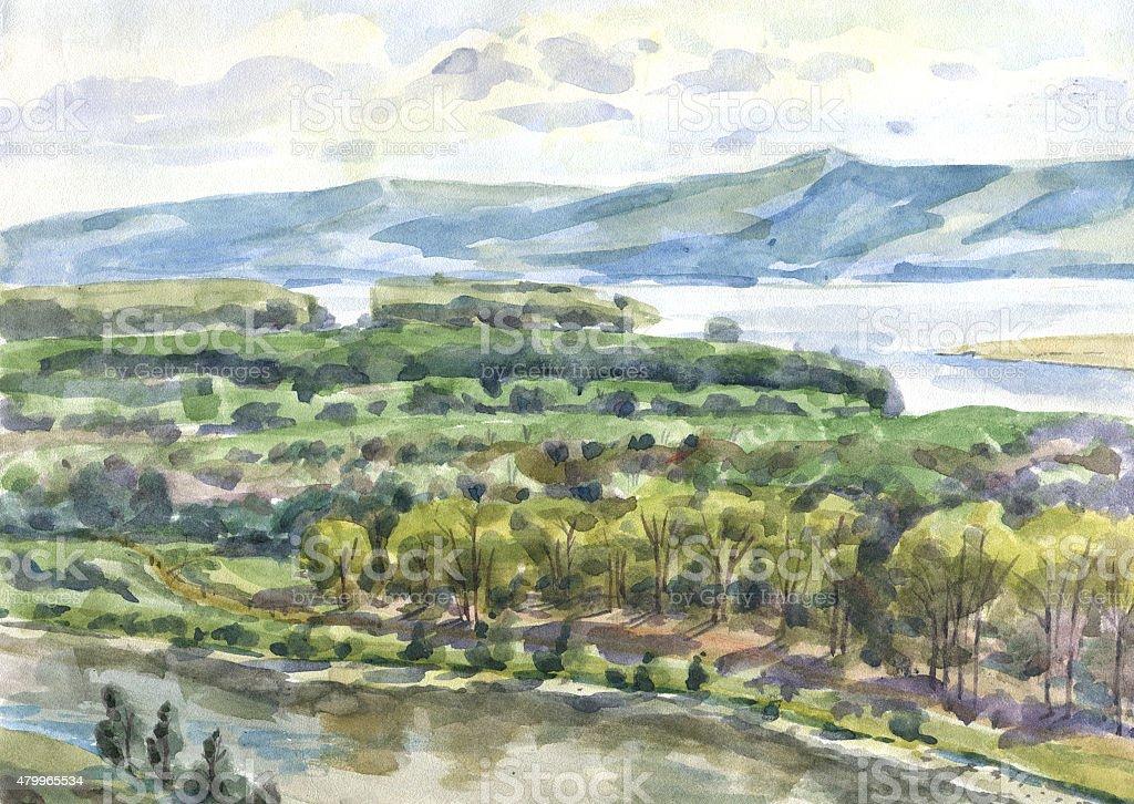 River floodplain summer watercolor vector art illustration