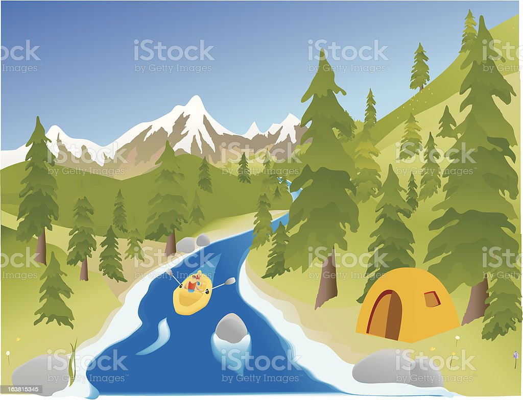 River Rafting royalty-free stock vector art
