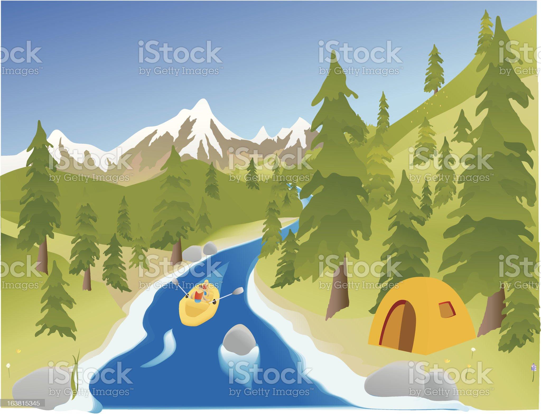 River Rafting royalty-free stock vector art