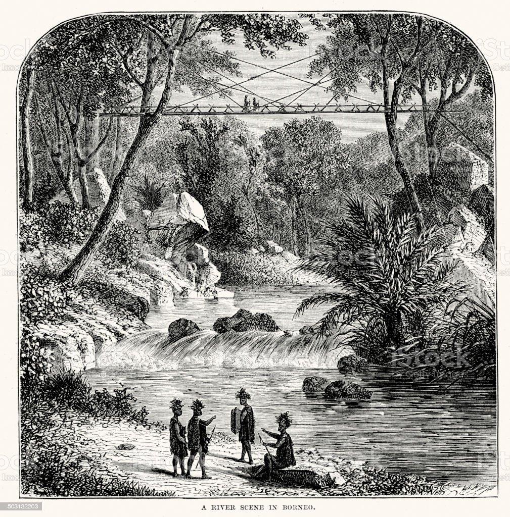 River scene in Borneo royalty-free stock vector art