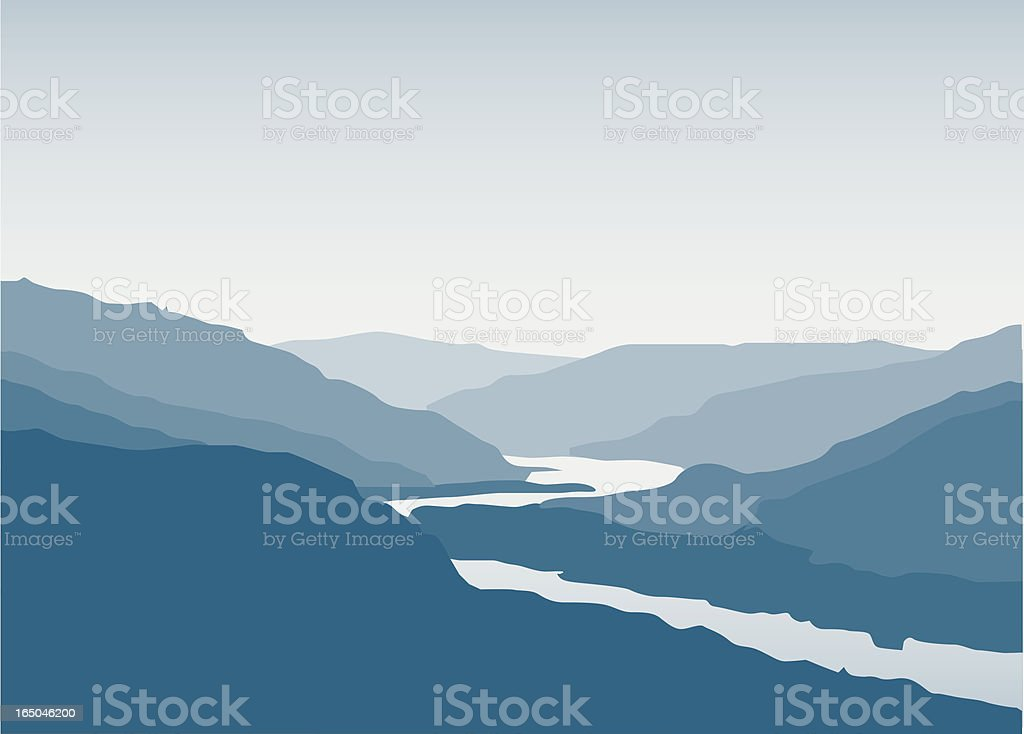 River Valley vector art illustration