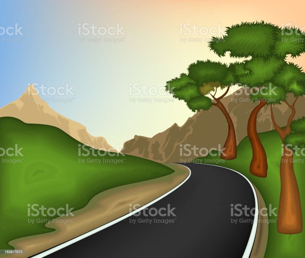 Road and nature background royalty-free stock vector art